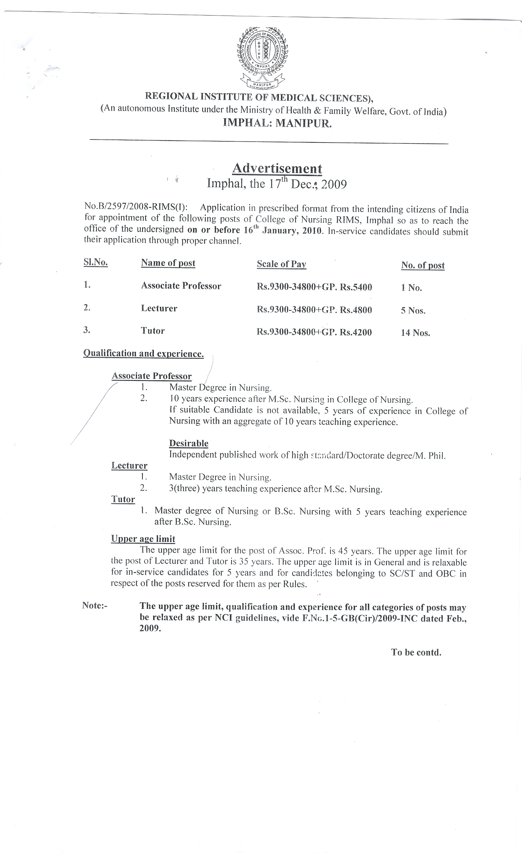 advertisement archives regional institute of medical sciences 2 appointments of various posts of college of nursing pg